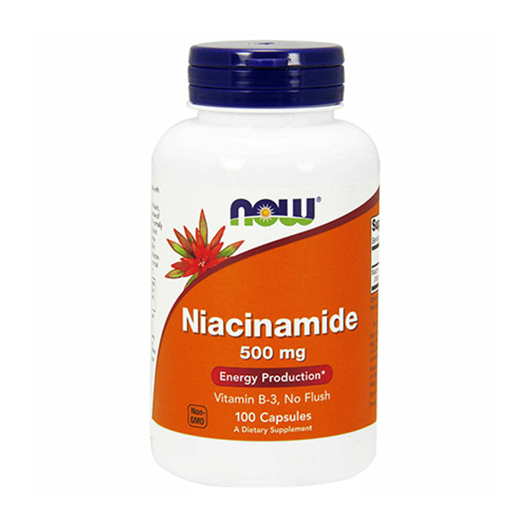 Now Foods Niacinamide 500mg Vitamin B-3 Capsules, 100 Ea