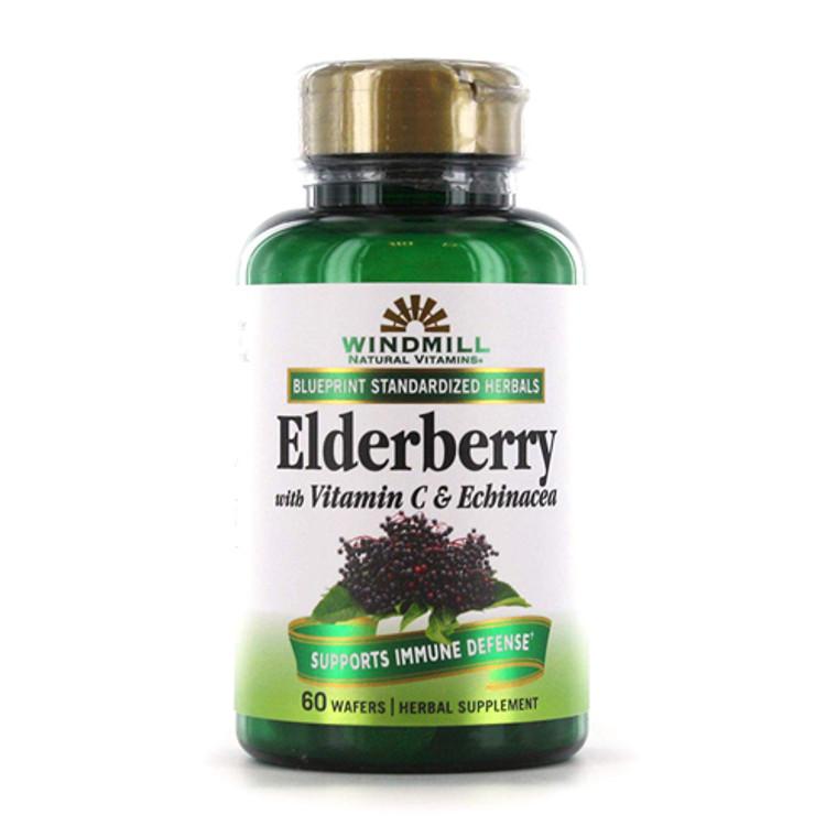 Windmill Elderberry with Vitamin C and Echinacea Capsules, 60 Ea