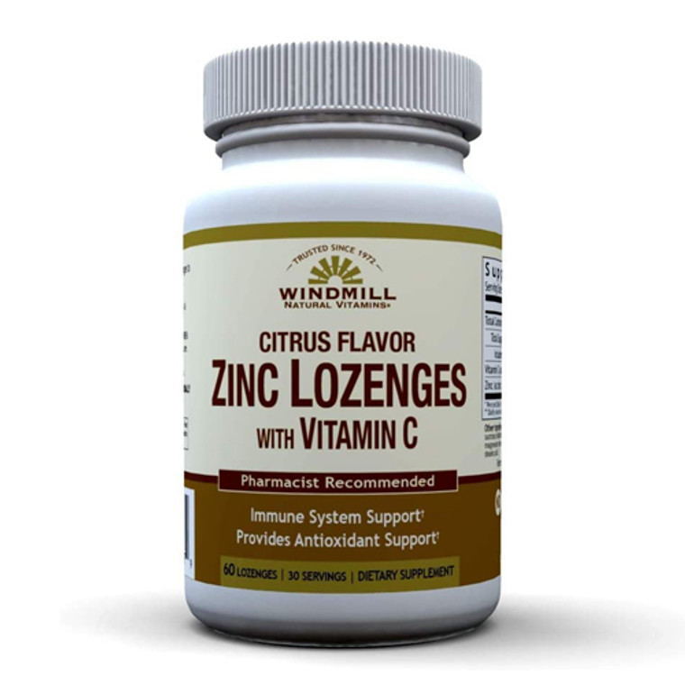 Windmill Health Natural Vitamins Zinc Lozenges with Vitamin C, 60 Ea