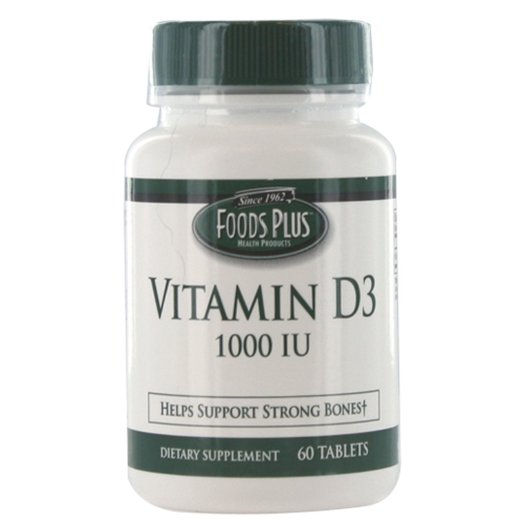 Vitamin D-1000Iu Tablets By Food Plus, Known As D3 - 60 Ea