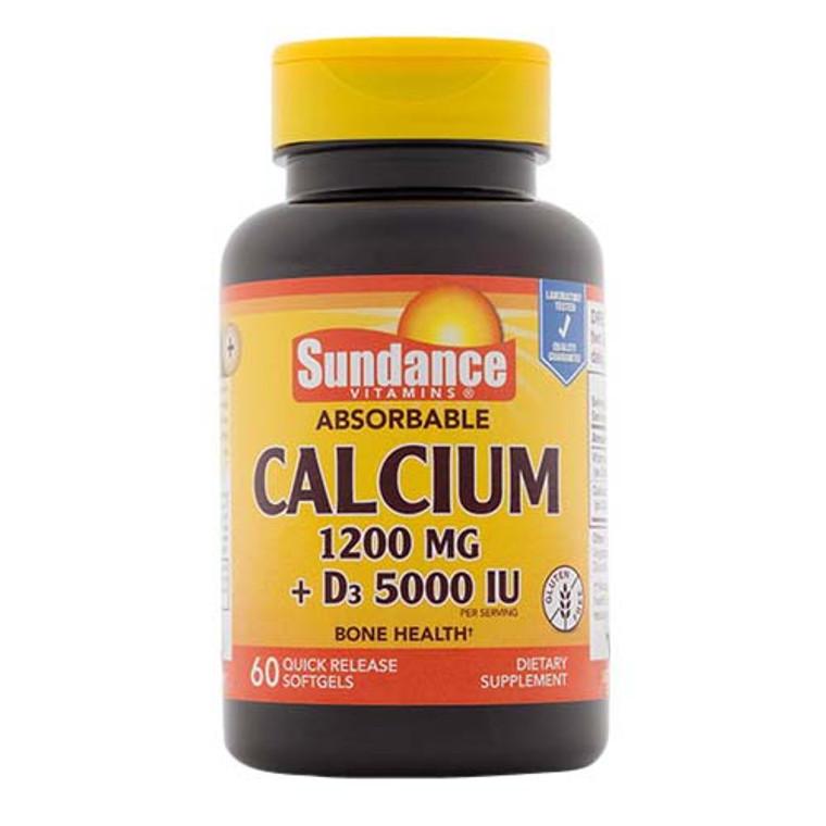 Sundance Calcium 1200 Mg Plus Vitamin D3 5000 IU Bone Health Quick Release Softgels, 60 Ea