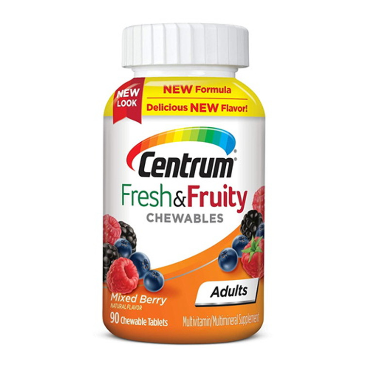 Centrum Fresh and Fruity Mixed Berry Flavor Multivitamin and Multimineral Supplement for Adults, 90 Ea