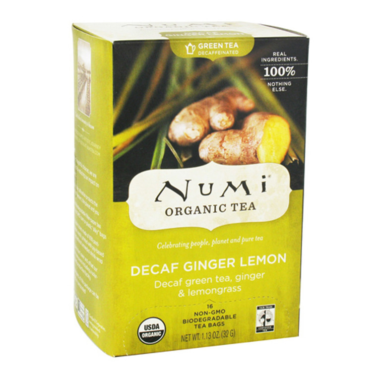 Numi Organic Green Tea Decaffeinated, Ginger Lemon - 16 Tea Bags
