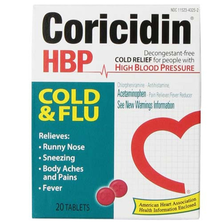 Coricidin Hbp Cold And Flu Tablets For People With High Blood Pressure - 20 Ea
