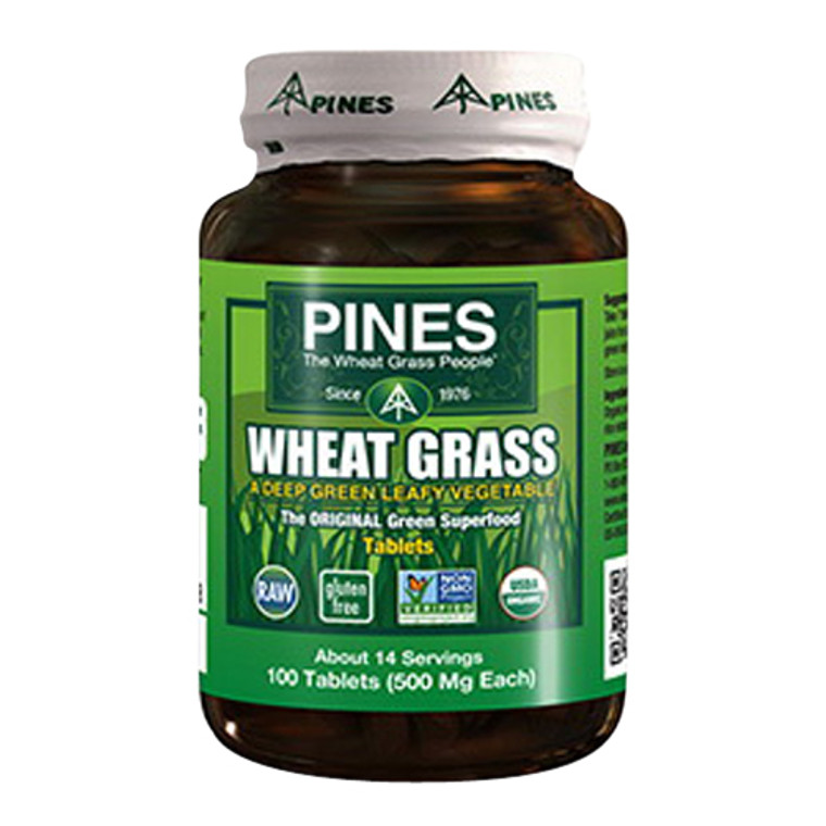Pines Wheat Grass A Deep Green Leafy Vegetable Tablets 500 mg, 100 Ea