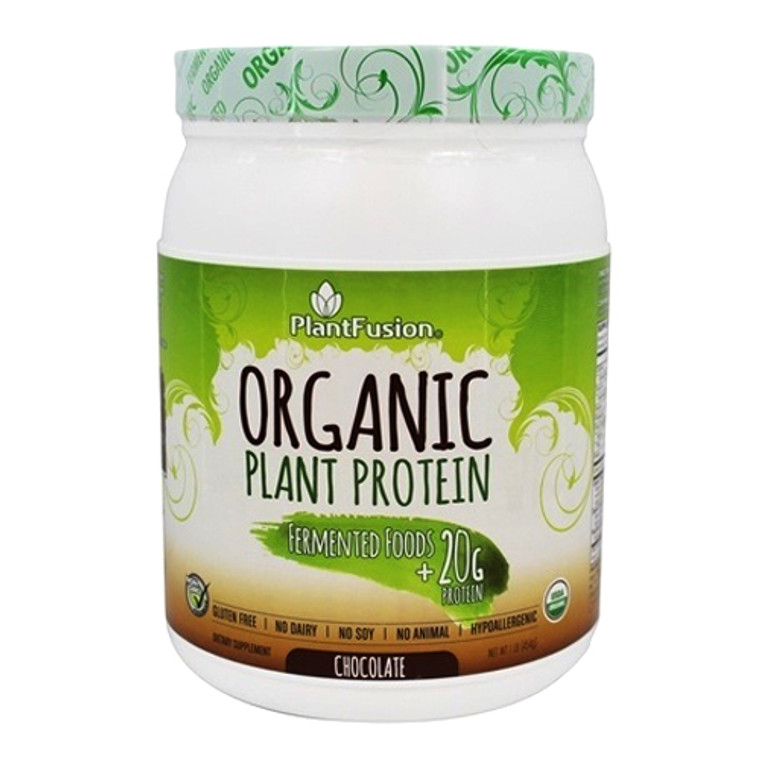 Plantfusion Organic Plant Protein and Fermented Foods Powder, Chocolate, 1 Lb