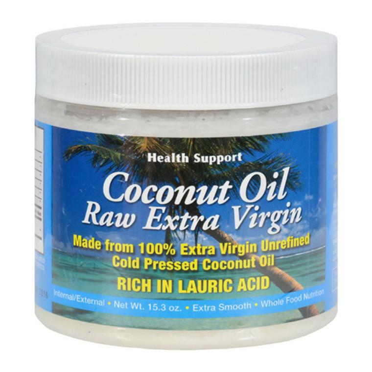 Health Support Raw Extra Virgin Unrefined Coconut Oil, 15.3 Oz