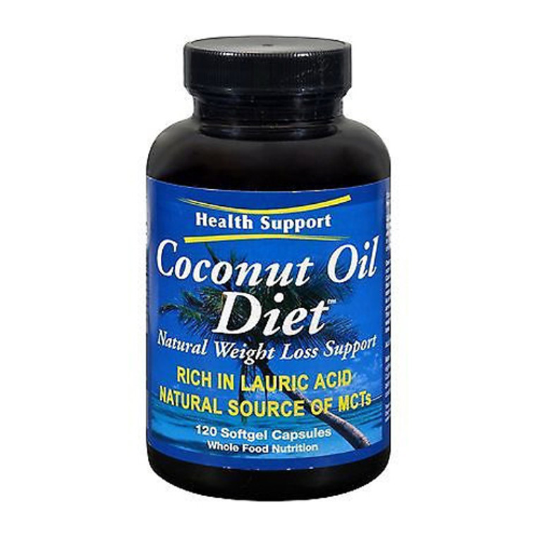 Health Support Gluten Free Coconut Oil Diet Natural Weight Loss Support Softgels, 120 Ea