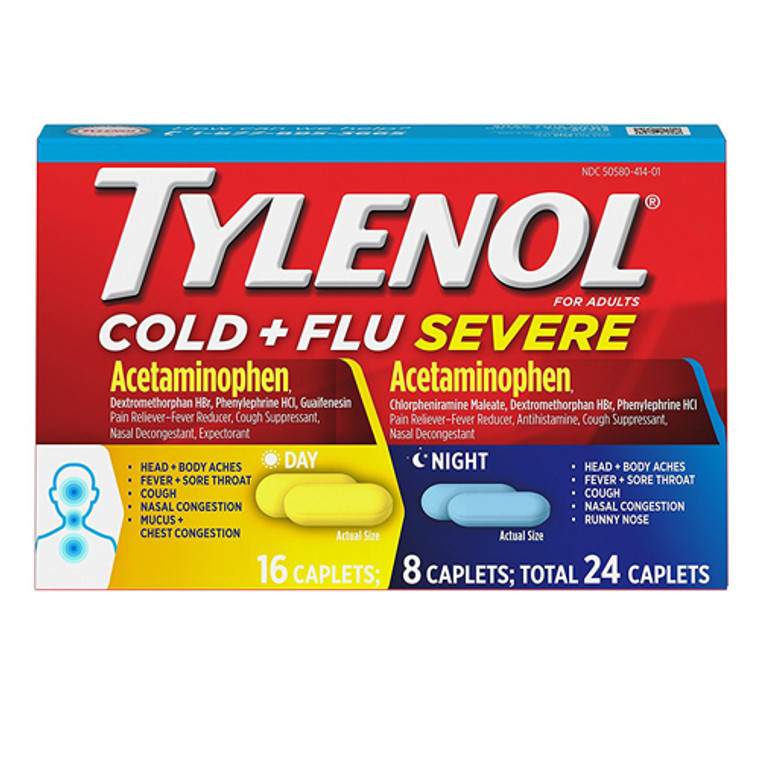 Tylenol Cold And Flu Severe Day And Night Caplets, 24 Ea