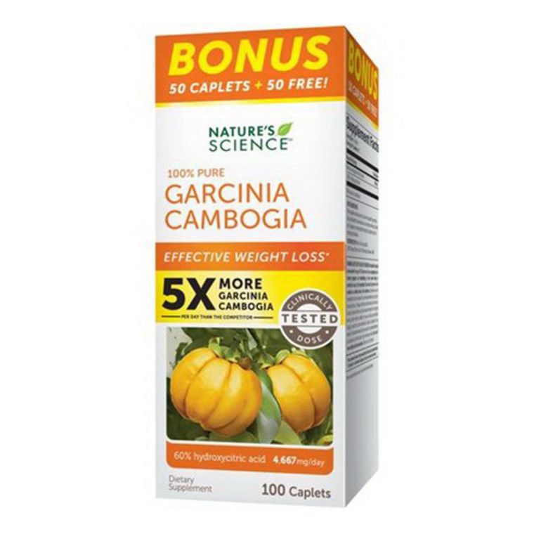 Natures Science 100% Pure Garcinia Camobia Weight Loss Caplets, 100 Ea