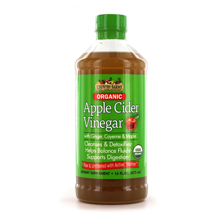 Country Farms Organic Apple  Cider Vinegar with Active Mother, Cleanses and Detoxifies, 16 Oz