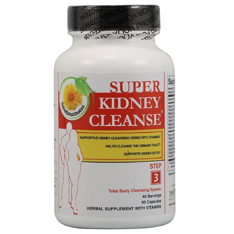 Kidney Cleanse Herbs And Vitamins Capsules By Health Plus - 90 Each