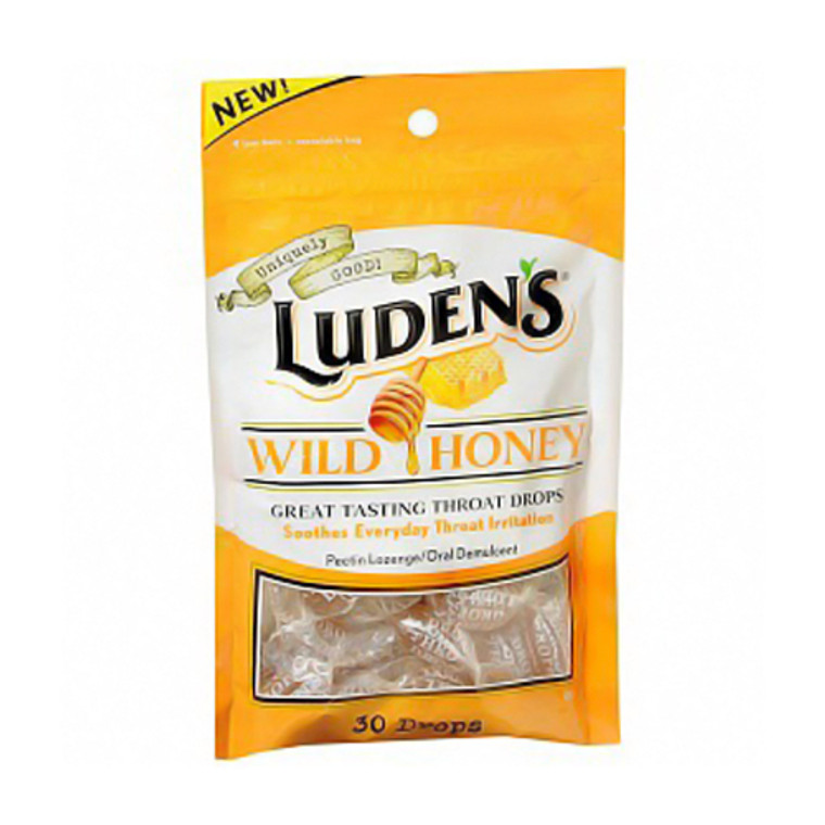 Ludens Great Tasting Oral Demulcent Throat Drops, Wild Honey - 30 Drops/Bag, 12 Ea