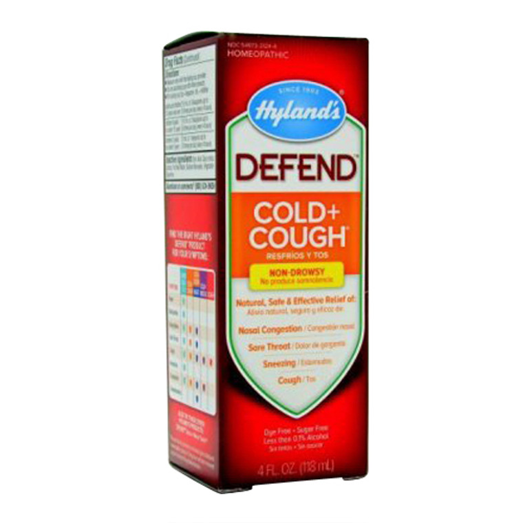 Hylands Defend Cold and Cough Liquid, Natural Relief of Nasal Congestion, 4 Oz