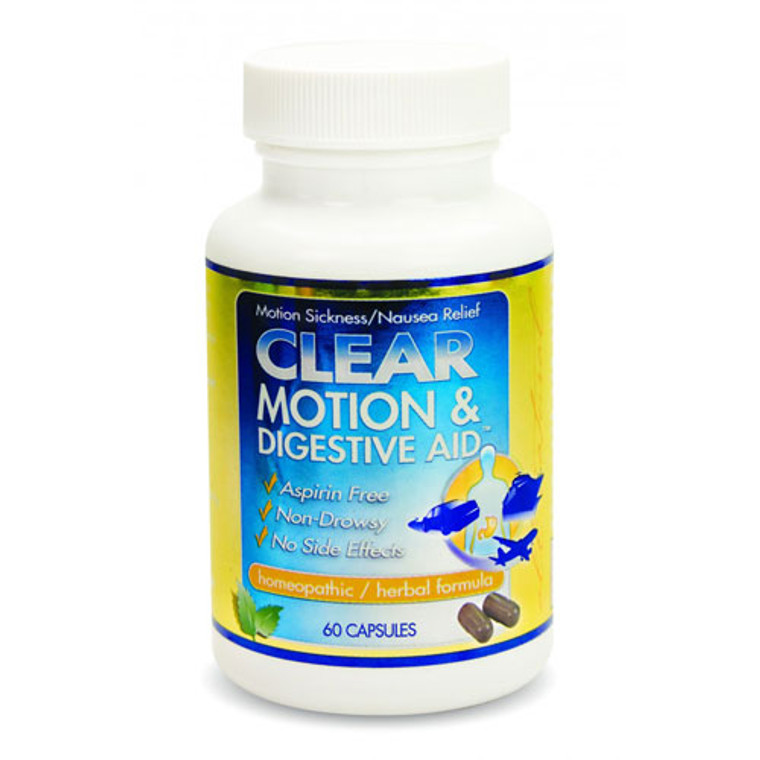 Clear Motion And Digestive Aid Homeopathic Herbal Relief Formula Capsules, 60 Ea