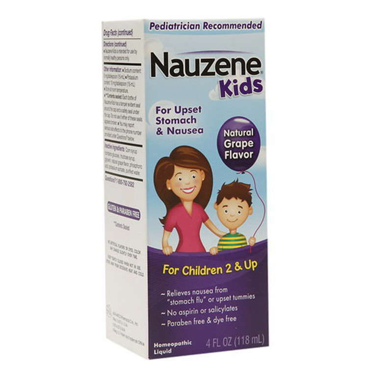 Nauzene Kids Upset Stomach and Nausea Liquid Homeopathic Grape 4 oz