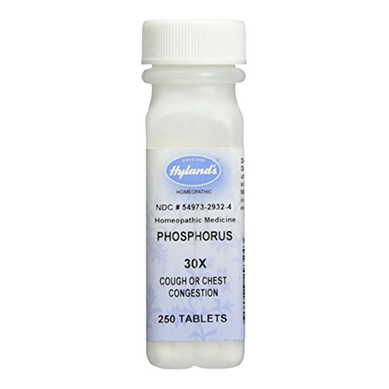 Hylands Homeopathic Phosphorus 30X Cough or Chest Congestion Tablets, 250 Ea