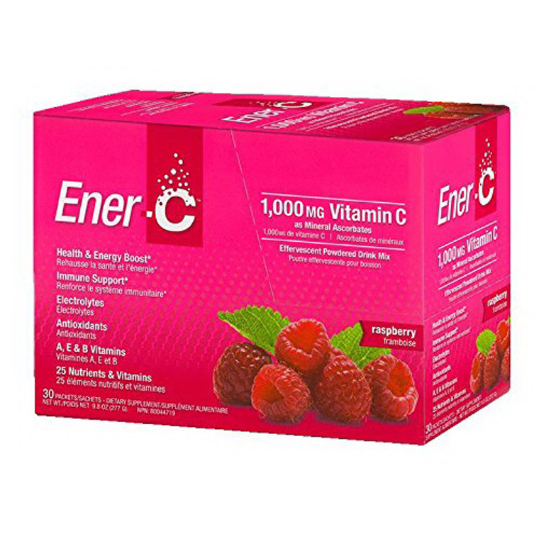 Ener-C Vitamin C 1000mg  Effervescent Powdered Drink Mix, Raspberry , 30 Packets