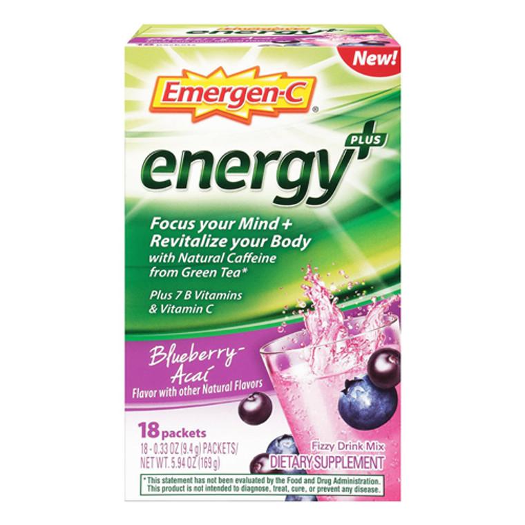 Emergen-C Energy Plus Drink Mix Packets, Blueberry-Acai Flavor, 18 Ea