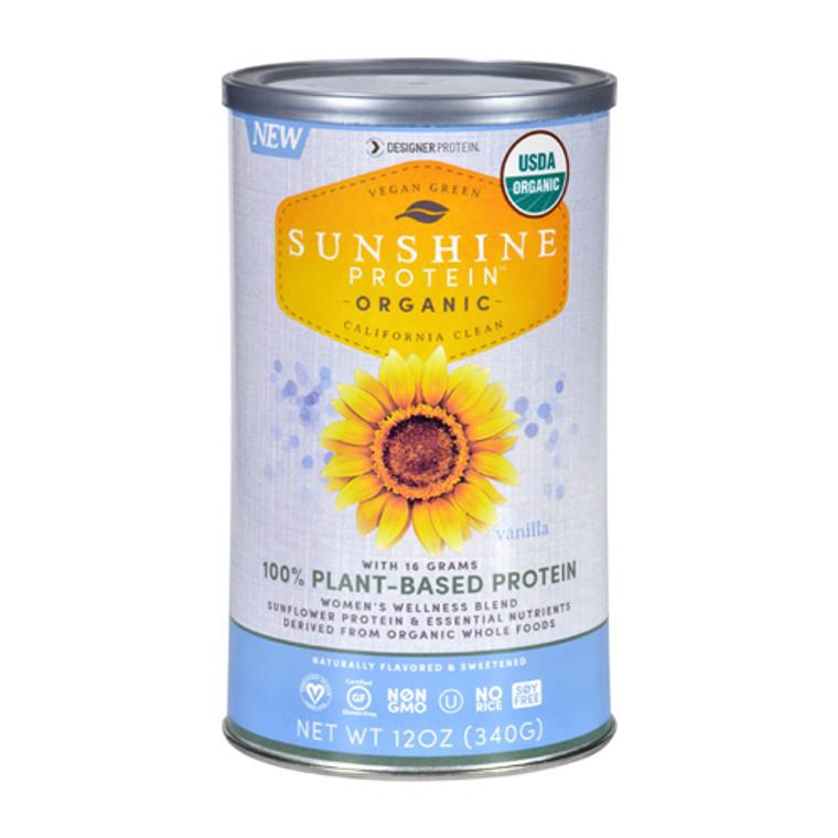 Designer Protein Sunshine Protein Plant Based Shake Mix, Vanilla, 12 Oz