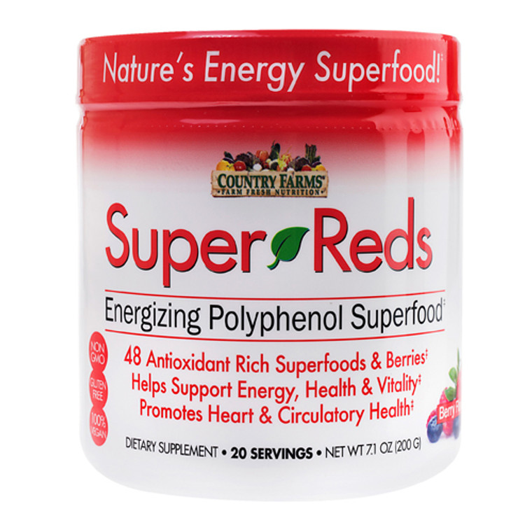 Country Farms Super Reds Energizing Polyphenol Super Food Drink Mix, Berry Flavor, 7.1 Oz