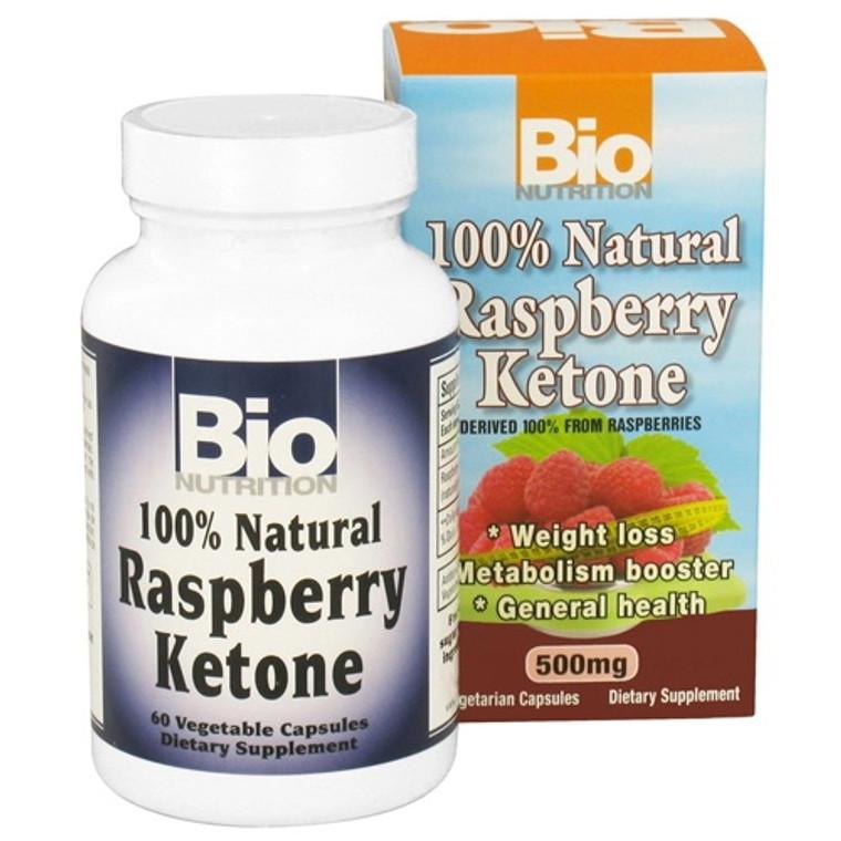 Bio Nutrition 100% Natural Raspberry Ketone 500 Mg Vegetarian Capsules - 60 Ea