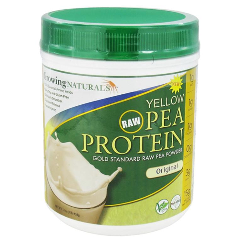 Growing Naturals Raw Yellow Pea Protein Powder, Original - 16 Oz