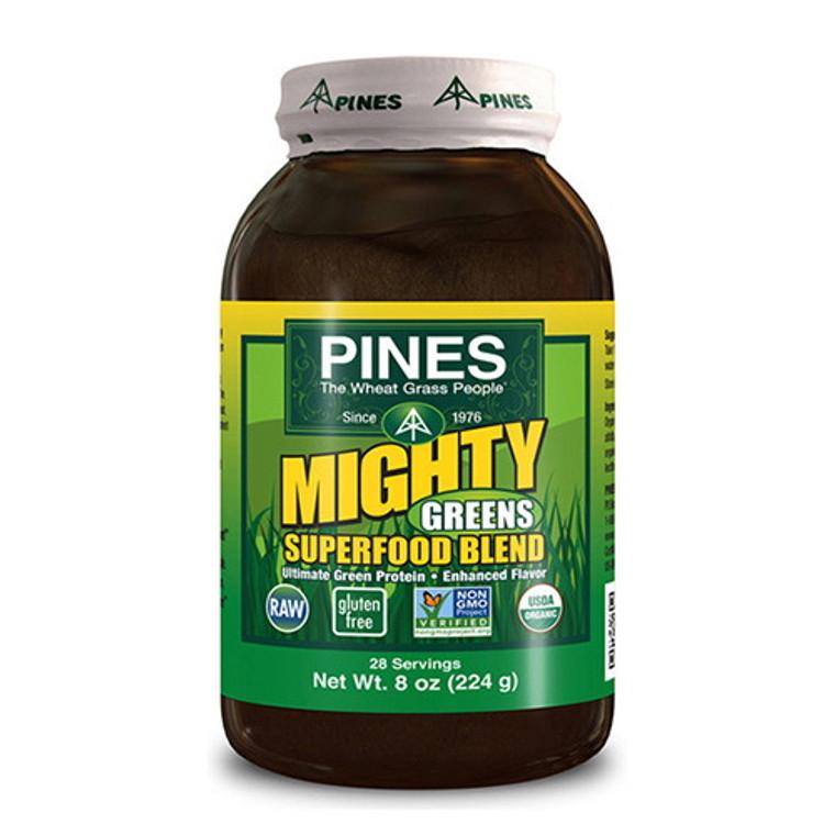 Pines Organic Mighty Greens Super Food Blend Hemp Protein Powder - 8 Oz
