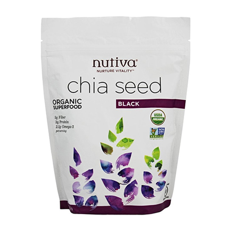 Nutiva Organic Superfood Chia Seed Black, Gluten-Free, 12 Oz