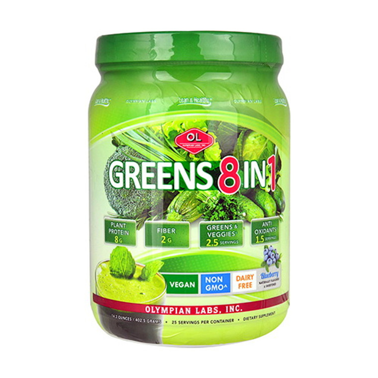 Olympian Labs Greens Protein Powder 8 in 1 Blueberry, 14.2 oz