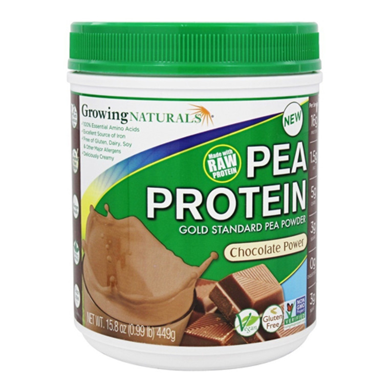 Growing Naturals Raw Pea Protein Gold Standard Pea Powder With Chocolate Power, 15.8 Oz