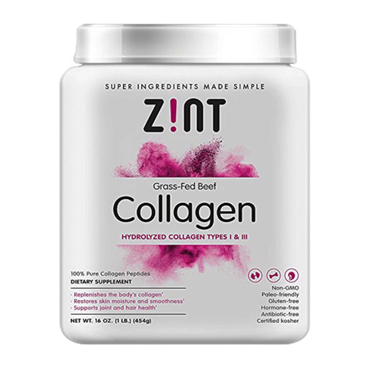 Zint Hydrolyzed Grass Fed Beef Collagen Peptides Protein Supplement Powder, 16 Oz