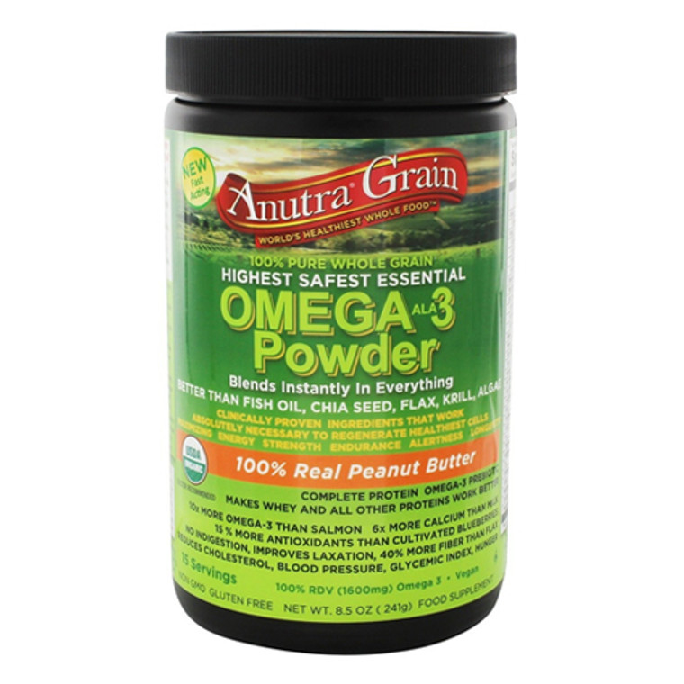 Anutra Grain 100 % Real Peanut Butter Omega 3 Supplement Powder, 8.5 Oz