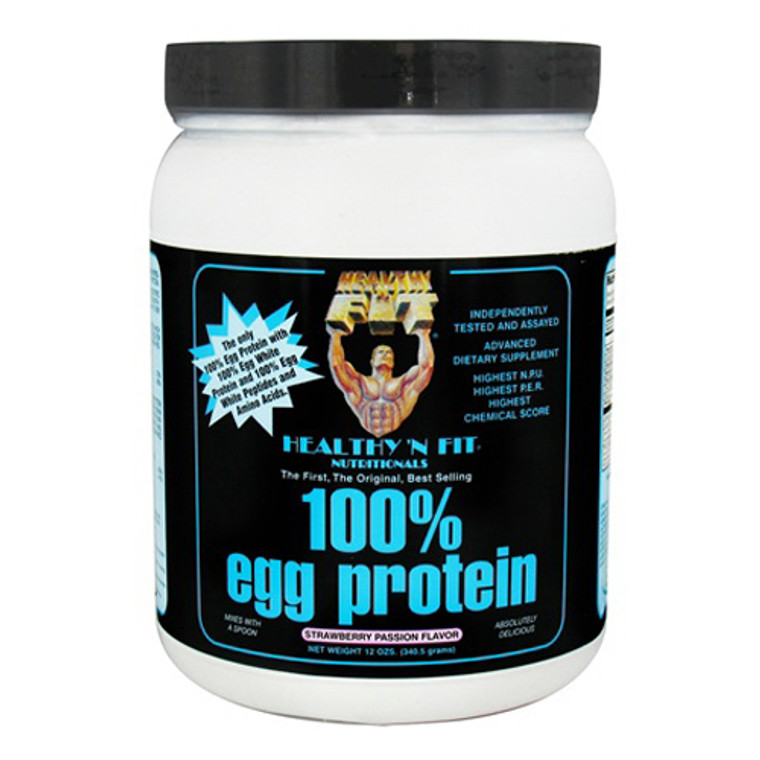 Healthy N Fit 100% Egg Protein Strawberry Passion Supplement Powder, 12 Oz
