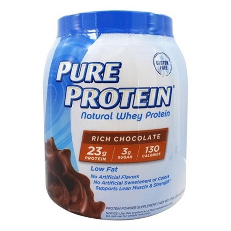 Pure Protein 100% Natural Whey Protein Rich Chocolate, 1.6 Lb