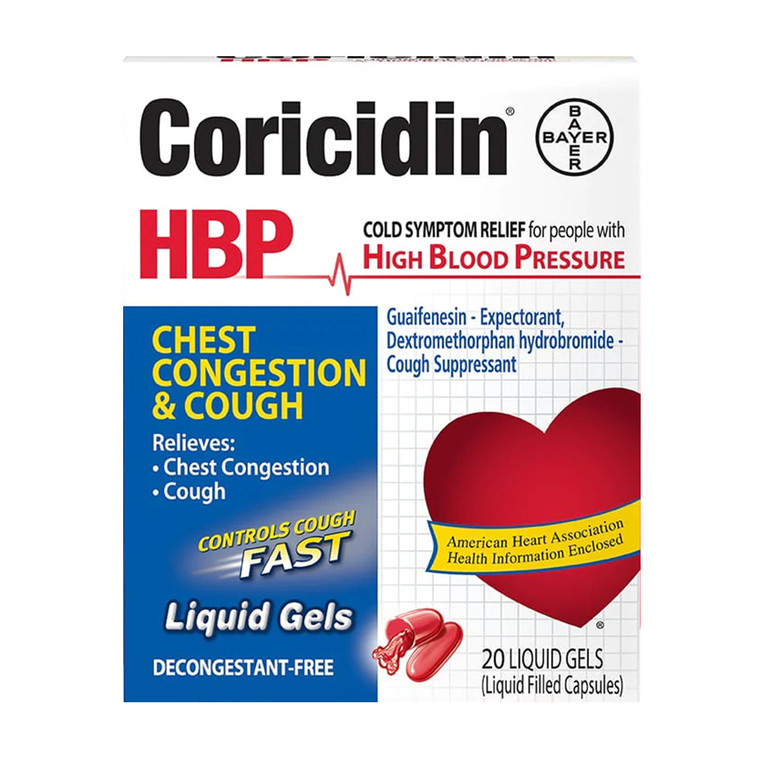 Coricidin HBP Chest Congestion & Cough Liquid Soft Gels, 20 ea