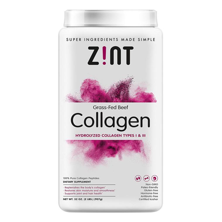Zint Hydrolyzed Grass Fed Beef Collagen Peptides Protein Supplement Powder, 2 Lb