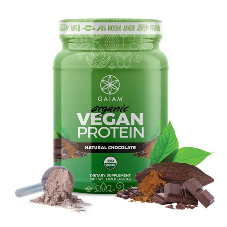 Natural Chocolate Organic Vegan Protein Powder By Gaiam, 1.02 Lb