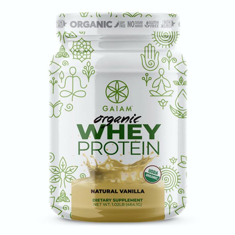 Gaiam Organic Whey Protein Powder Natural Vanilla, 1.02 Lb