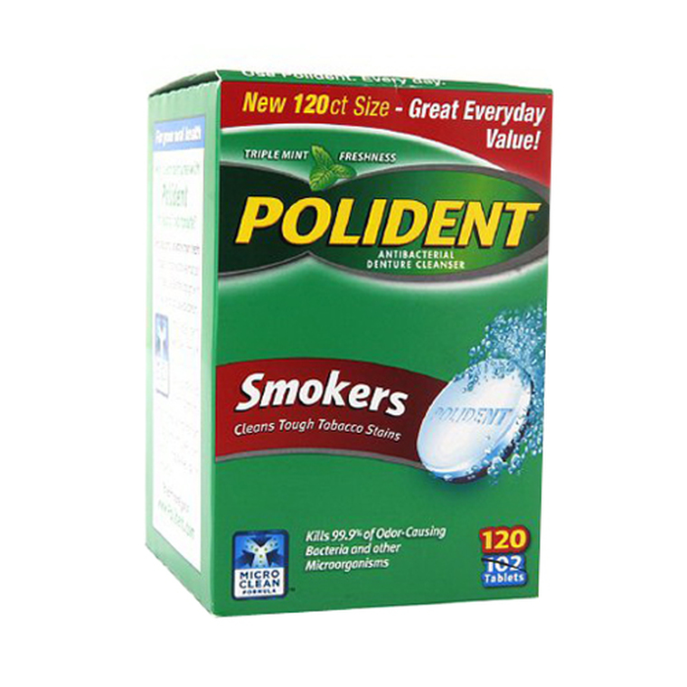 Polident Smokers Denture Cleanser - 120 Ea