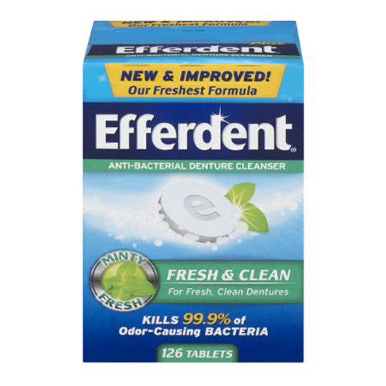 Efferdent Anti-Bacterial Denture Cleanser Tablets, Fresh Minty Flavor, 126 Ea