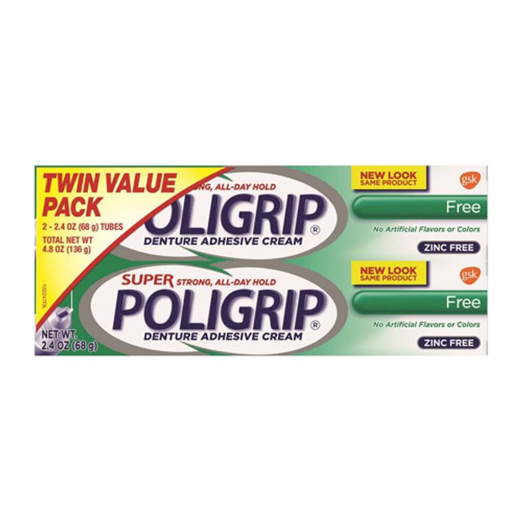 Super Poligrip Denture Adhesive Cream, FreeTwin Pack, 2.4 Oz