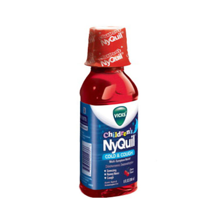 Vicks Childrens Nyquil Cold Cough Multi-Symptom Relief Liquid, Cherry - 8 Oz