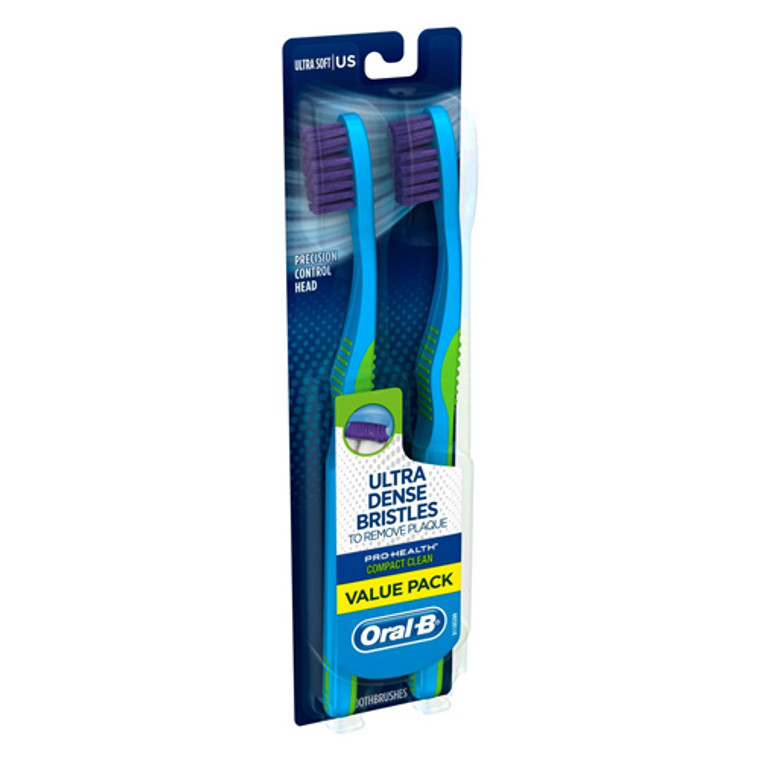 Oral B  Pro Health Compact Clean Ultra Soft Toothbrush, 2 Ea