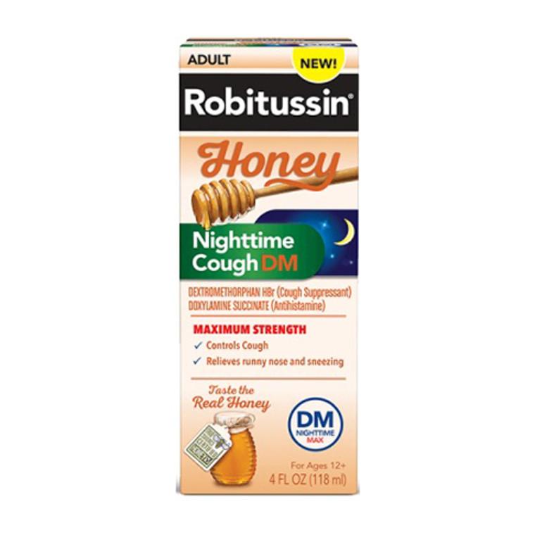 Robitussin Adult Maximum Strength Honey Nighttime Cough Dm Liquid, 4 Oz