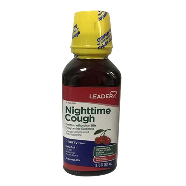 Leader NightTime Cough Liquid, Cherry, 12 Oz