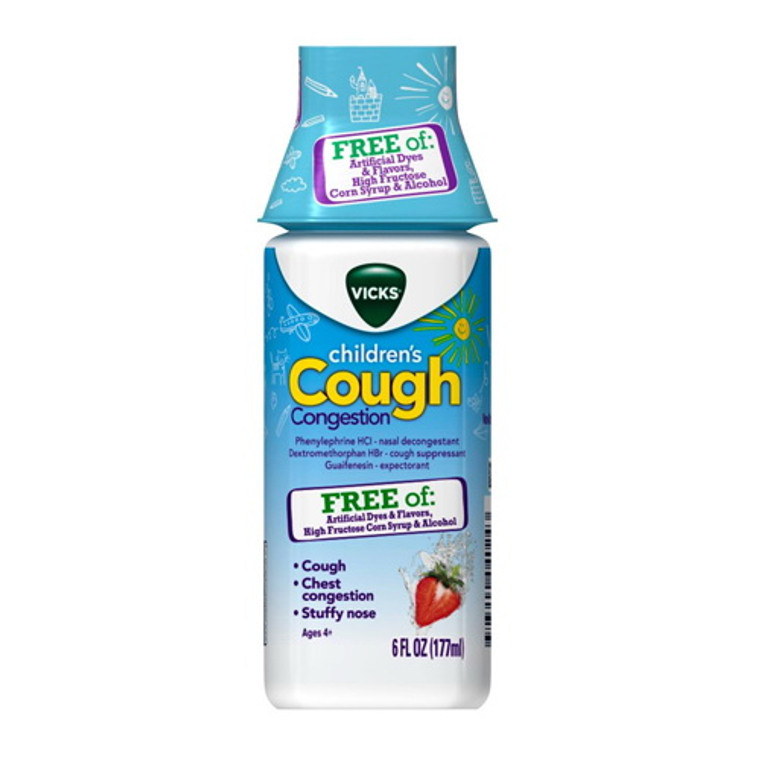 Vicks Childrens Cough Congestion Day Relief Liquid, Strawberry, 6 Oz