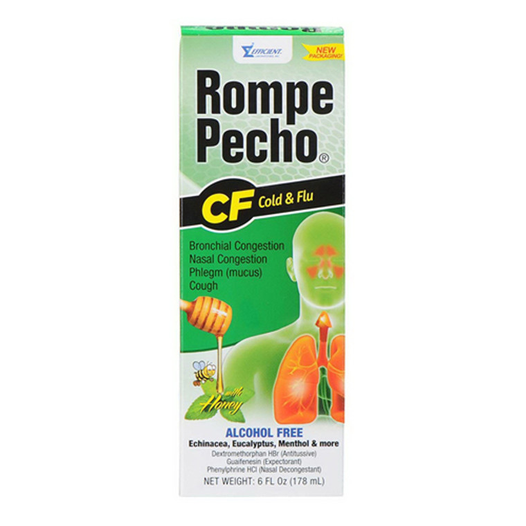 Rompe Pecho Cf Cold and Flu Cough Suppressant Syrup, 6 Oz