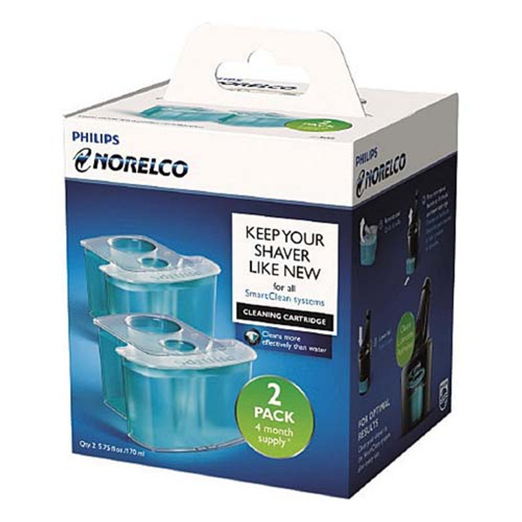 Philips Norelco Smartclean Replacement Cleaning Cartridges For Shaver, JC30252, 2 Ea