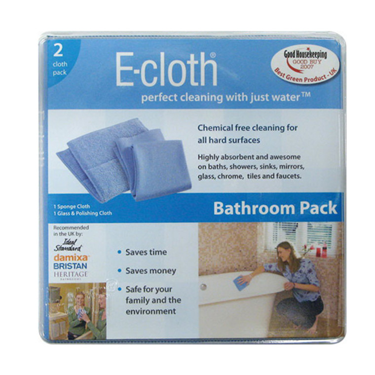 E-Cloth Bathroom Pack Cleaning For All Hard Surfaces, Chemical Free - 2 Ea